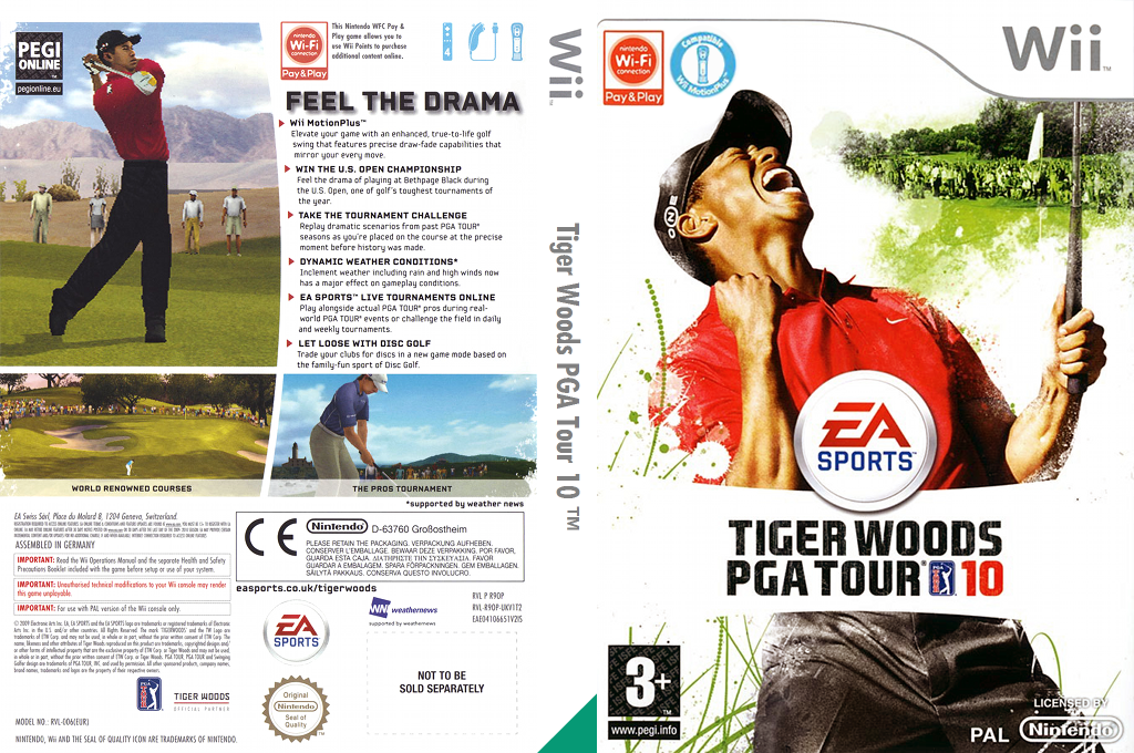 Tiger Woods PGA Tour 10 Wii coverfullHQ (R9OP69)