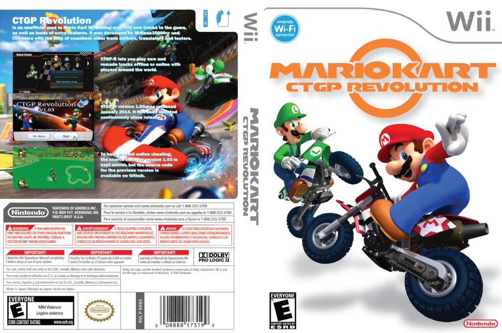 Mario Kart Wii CTGP Revolution Channel Wii coverfullHQ (RMCX)