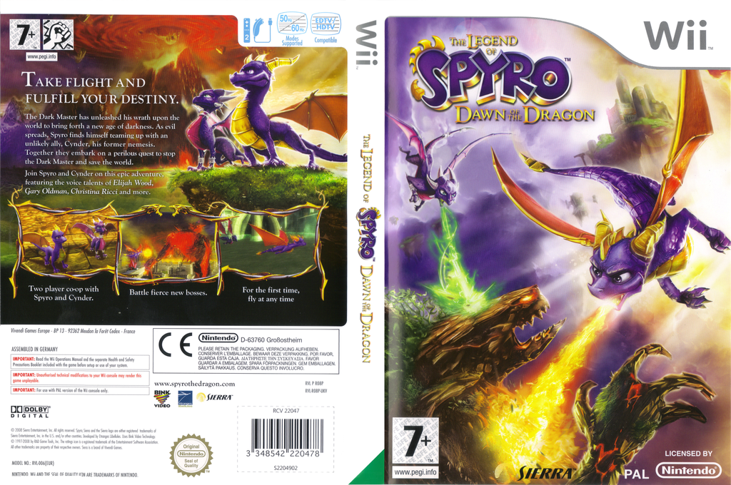 The Legend of Spyro: Dawn of the Dragon Wii coverfullHQ (RO8P7D)