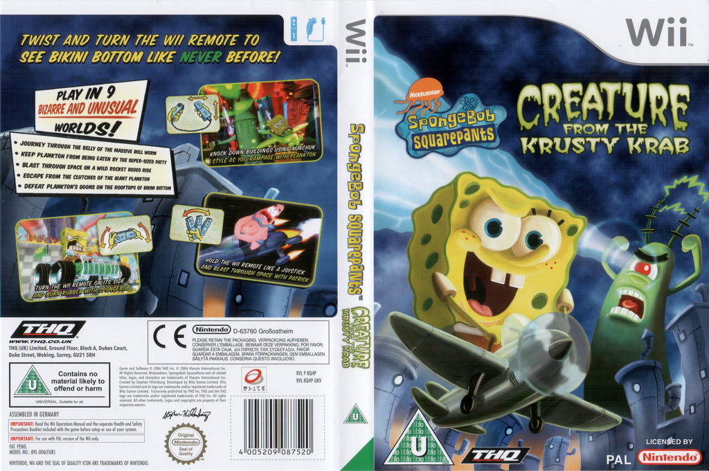 SpongeBob SquarePants: Creature from the Krusty Krab Wii coverfullHQ (RQ4P78)