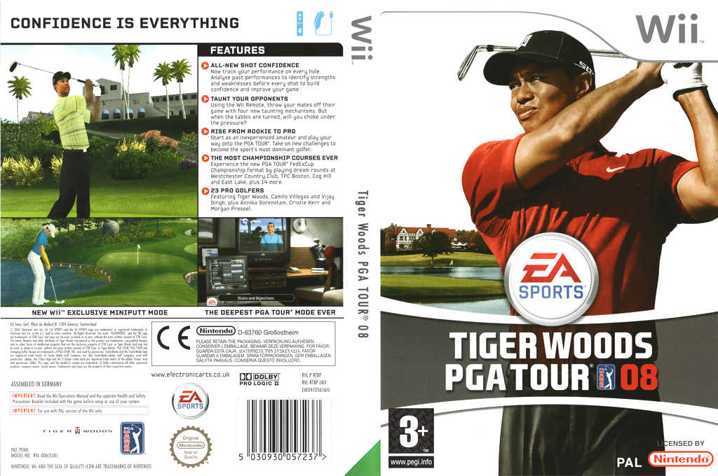 Tiger Woods PGA Tour 08 Wii coverfullHQ (RT8P69)
