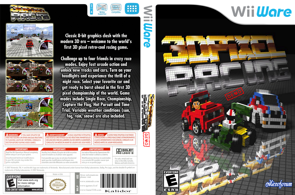 3D Pixel Racing Demo Wii coverfullHQ (XIZP)