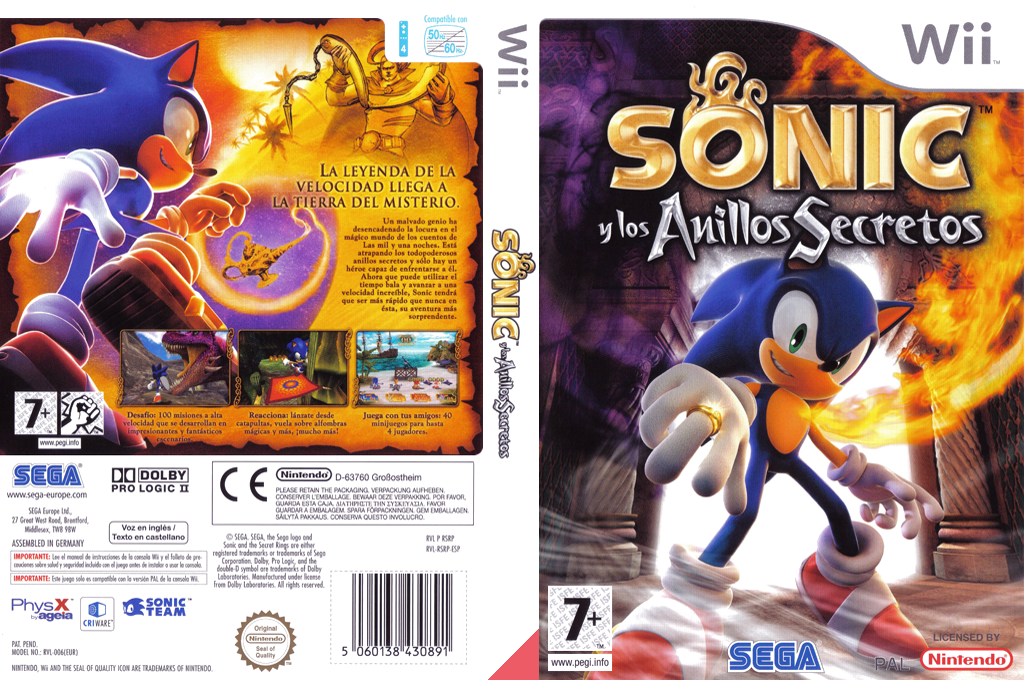 Sonic y los Anillos Secretos Wii coverfullHQ (RSRP8P)