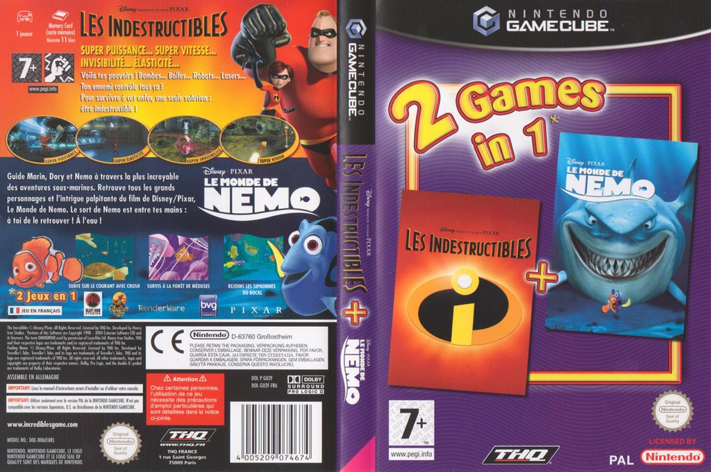 2 Games in 1: Les Indestructibles / Le Monde de Nemo Wii coverfullHQ (GU2F78)