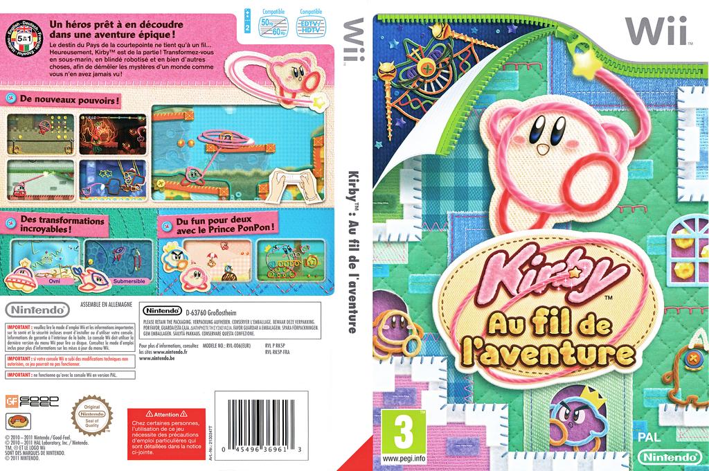 Kirby au Fil de l'Aventure Wii coverfullHQ (RK5P01)