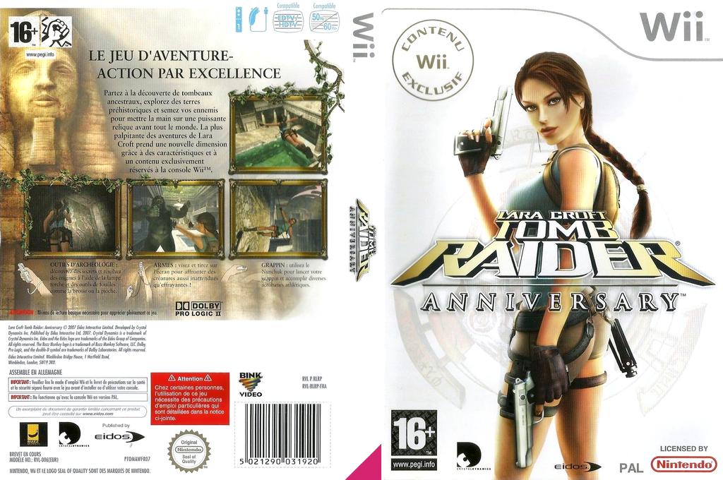 Tomb Raider : Anniversary Wii coverfullHQ (RLRP4F)