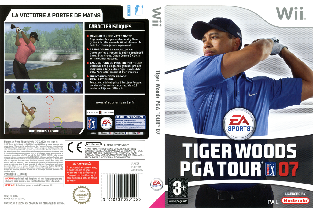 Tiger Woods PGA Tour 07 Wii coverfullHQ (RT7F69)