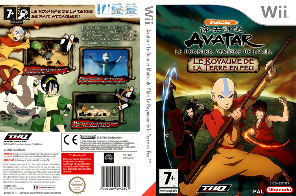 Avatar: Le Dernier Maître de l'Air - Le Royaume de la Terre en Feu Wii coverfullHQ (RVAP78)