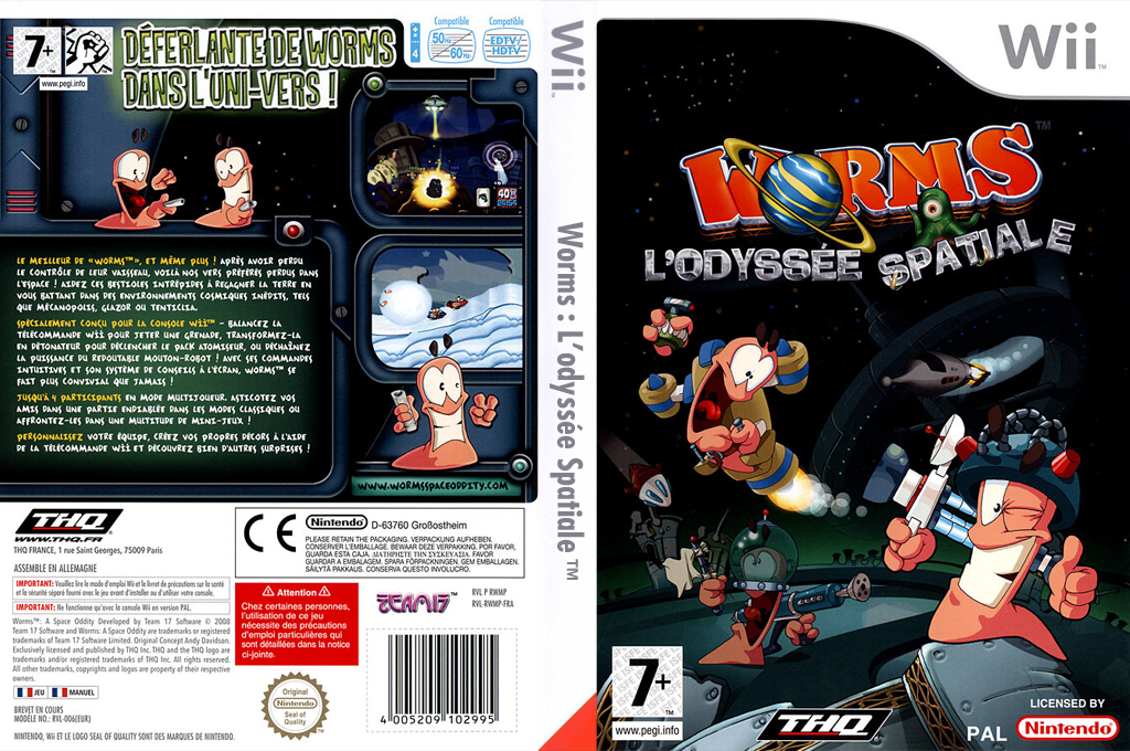 Worms : L'Odyssée Spatiale Wii coverfullHQ (RWMP78)