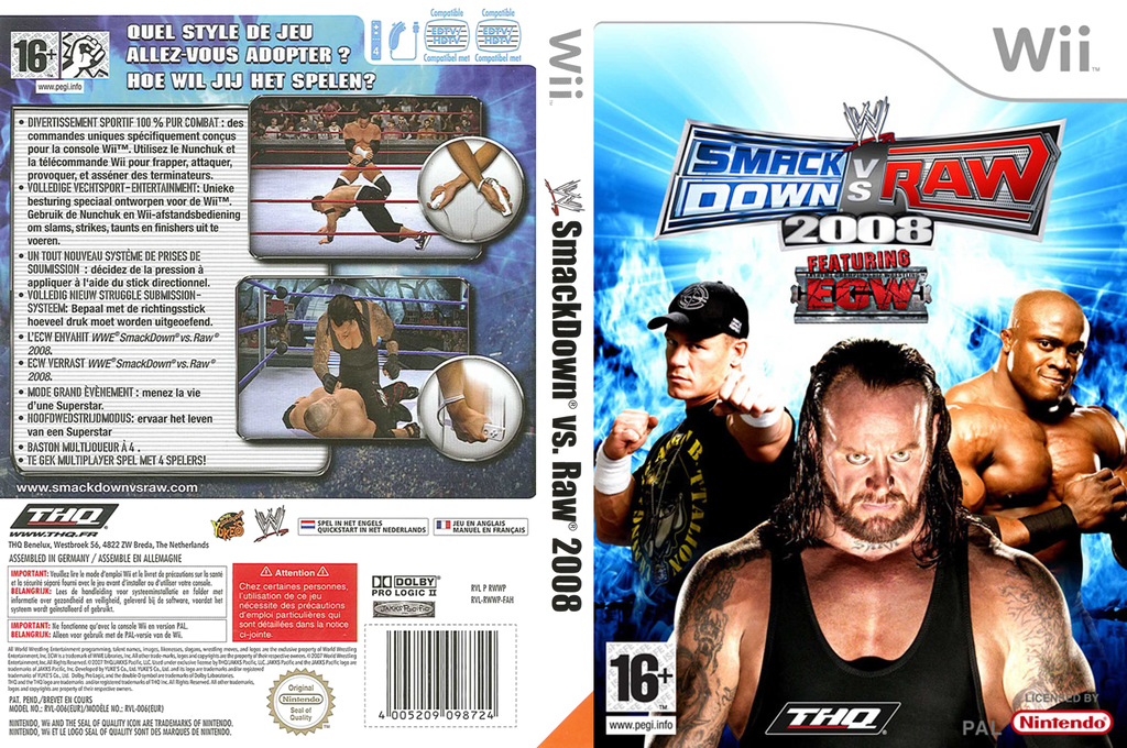 WWE SmackDown vs. Raw 2008 Wii coverfullHQ (RWWP78)