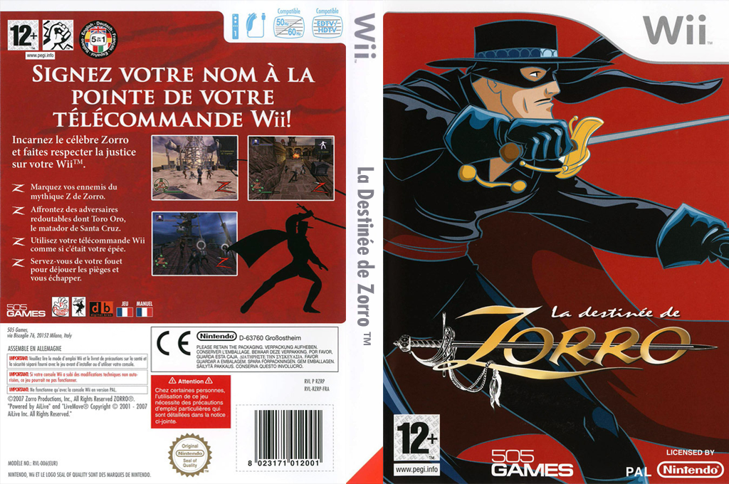 La Destinée de Zorro Wii coverfullHQ (RZRPGT)