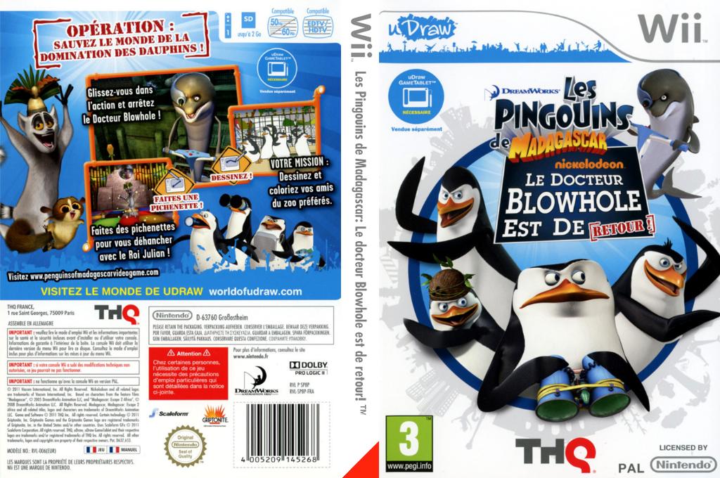Les Pingouins de Madagascar: Le docteur Blowhole est de retour! Wii coverfullHQ (SP8P78)