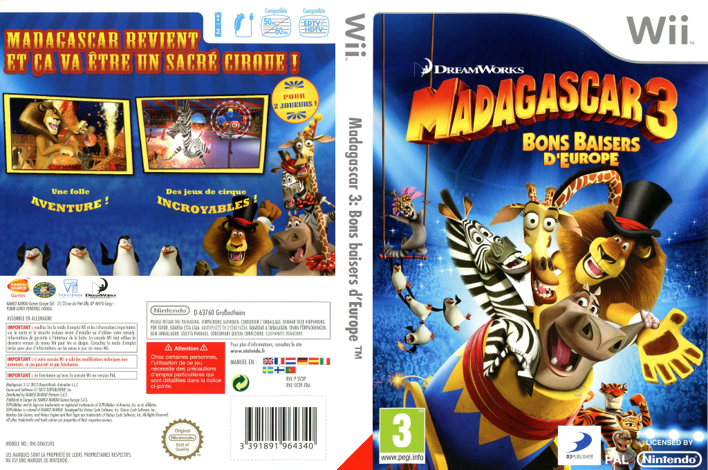 Madagascar 3: Bons baisers d'Europe Wii coverfullHQ (SV3PAF)