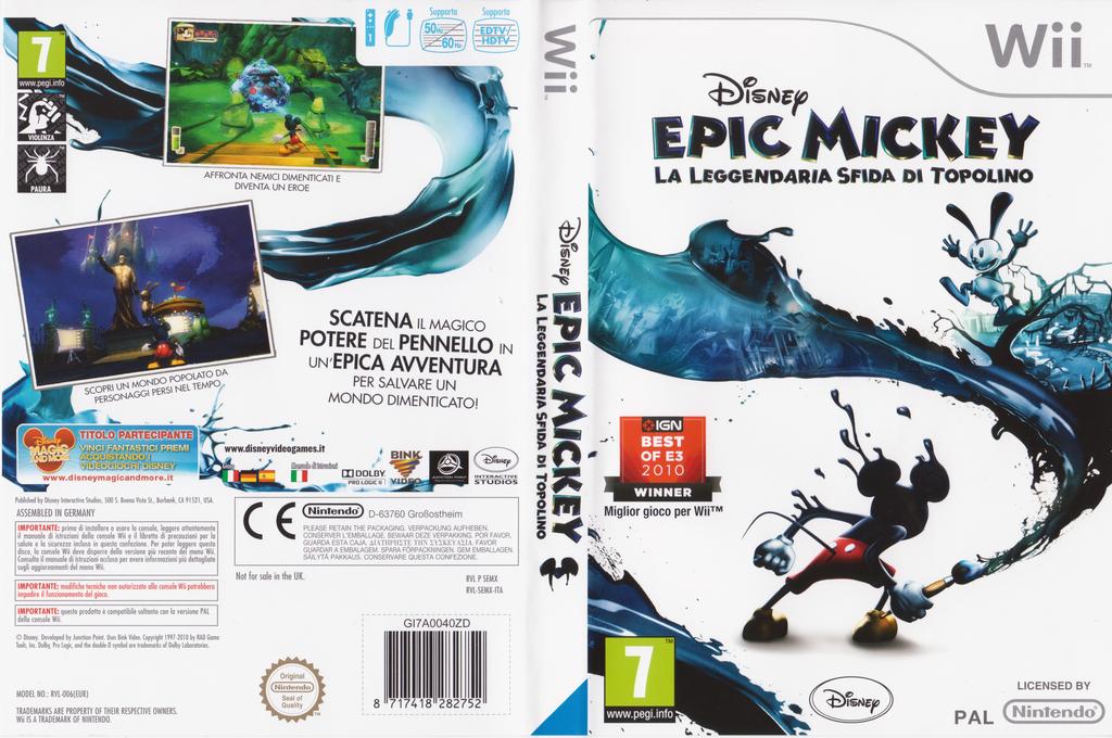 Disney Epic Mickey:La Leggendaria Sfida di Topolino Wii coverfullHQ (SEMX4Q)