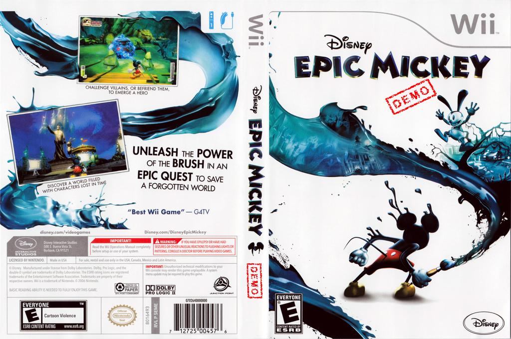 Disney Epic Mickey (Demo) Wii coverfullHQ (DASE4Q)