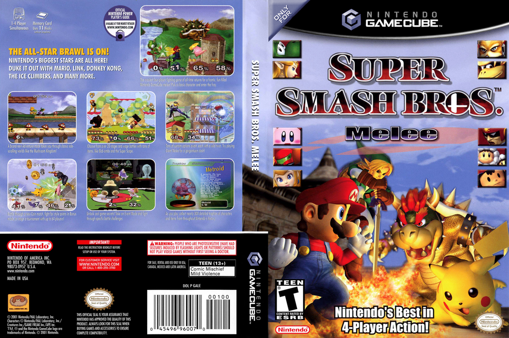 Super Smash Bros. Melee Wii coverfullHQ (GALE01)