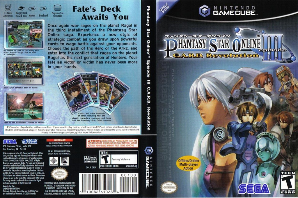 Phantasy Star Online Episode III: C.A.R.D. Revolution Wii coverfullHQ (GPSE8P)