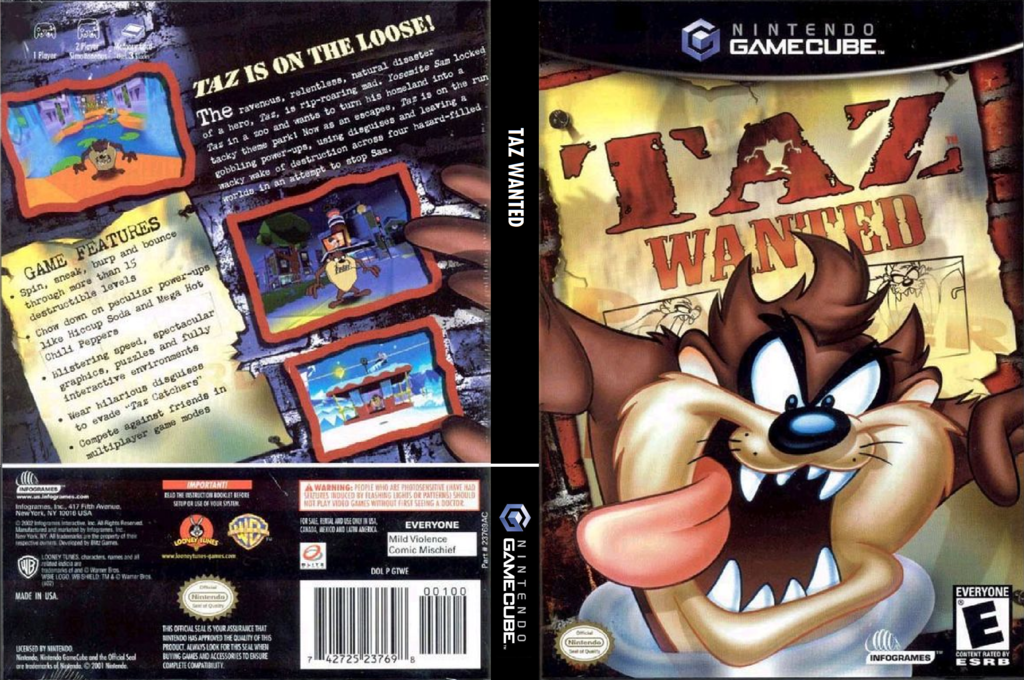 Taz Wanted Wii coverfullHQ (GTWE70)