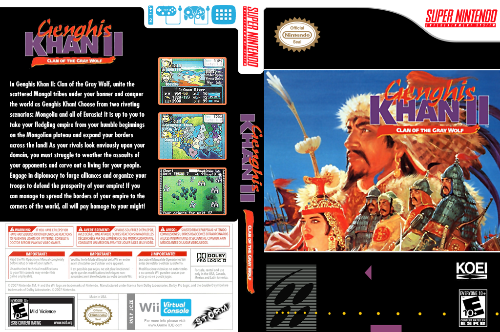 Genghis Khan II: Clan of the Gray Wolf Wii coverfullHQ (JCZE)