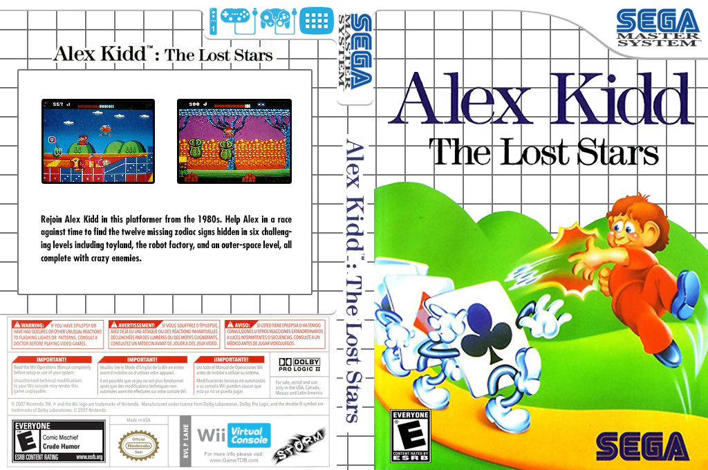 Alex Kidd: The Lost Stars Wii coverfullHQ (LANE)