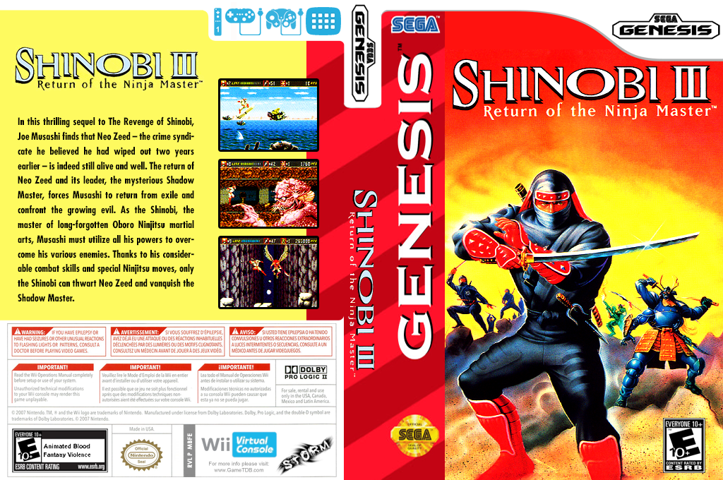 Shinobi III: Return of the Ninja Master Wii coverfullHQ (MBFE)