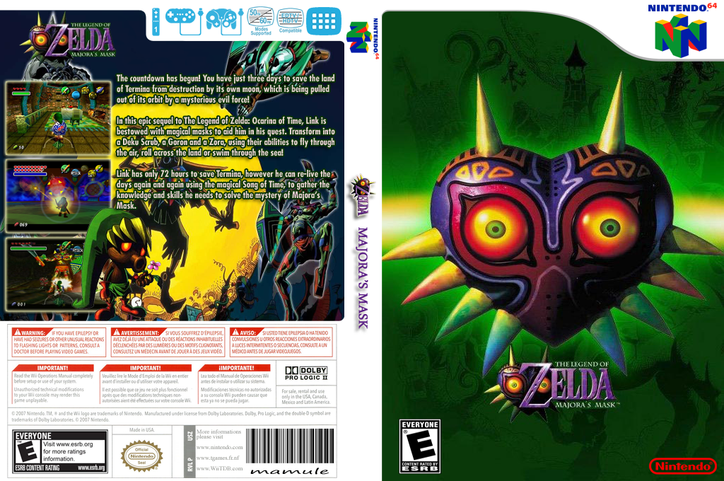The Legend of Zelda: Majora's Mask Wii coverfullHQ (NARE)