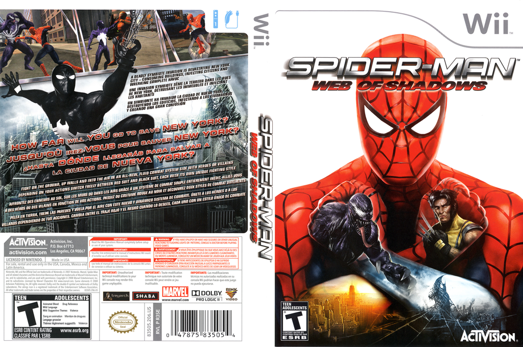 Spider-Man: Web of Shadows Wii coverfullHQ (R3SE52)