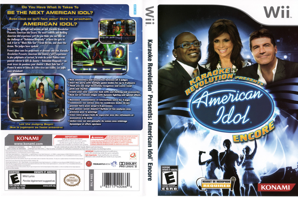 Karaoke Revolution Presents: American Idol Encore Wii coverfullHQ (RIEEA4)