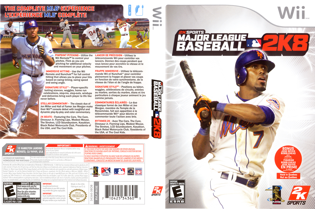 Major League Baseball 2K8 Wii coverfullHQ (RK8E54)