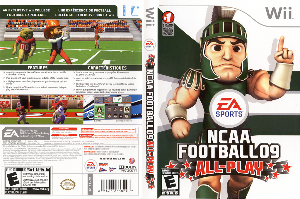 NCAA Football 09 Wii coverfullHQ (RNAE69)
