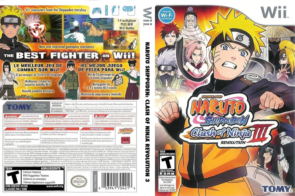 Naruto Shippuden: Clash of Ninja Revolution 3 Undub Wii coverfullHQ (RNEEUD)