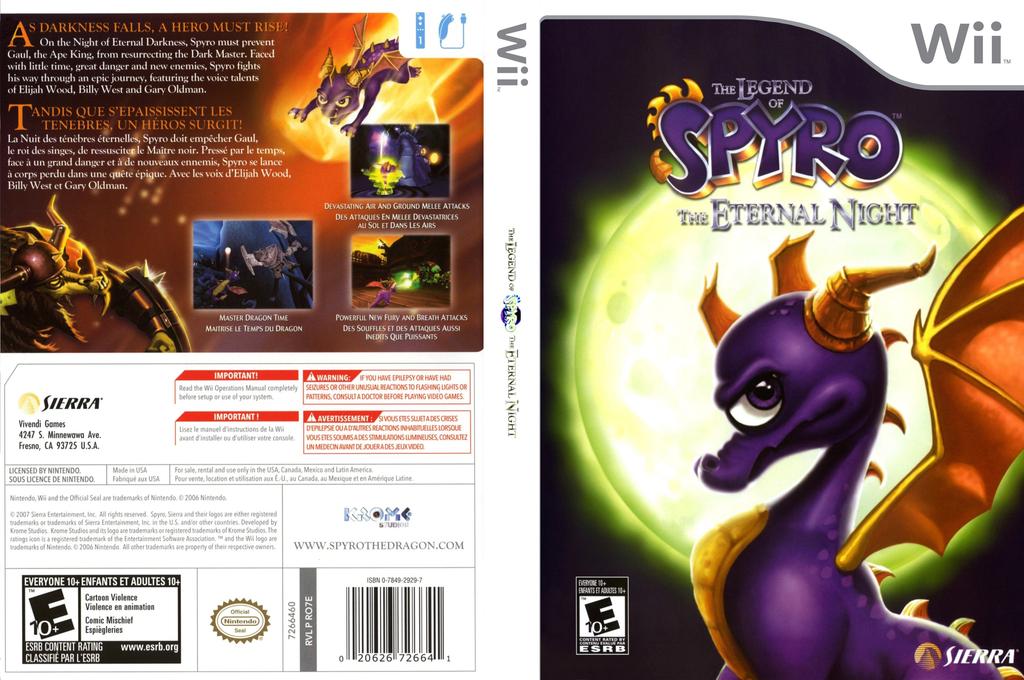 Legend of Spyro: The Eternal Night Wii coverfullHQ (RO7E7D)