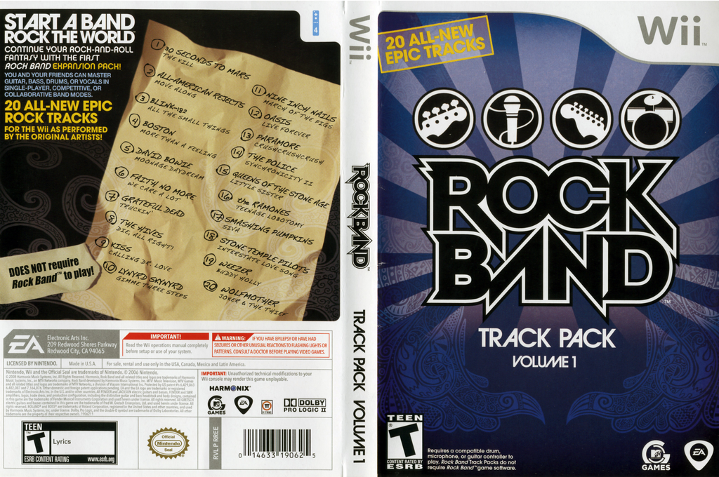 Rock Band Track Pack: Vol. 1 Wii coverfullHQ (RREE69)