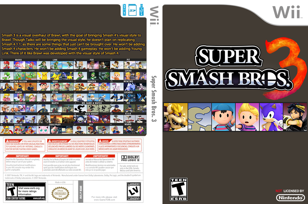 Super Smash Bros. 3 Wii coverfullHQ (RSBE24)