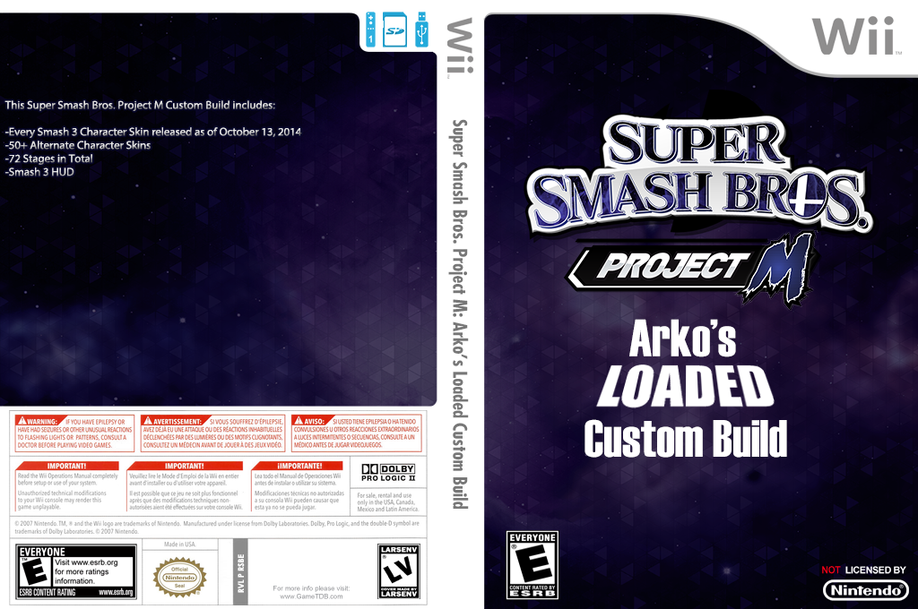 Super Smash Bros. Project M: Arko's Loaded Custom Build Wii coverfullHQ (RSBE30)