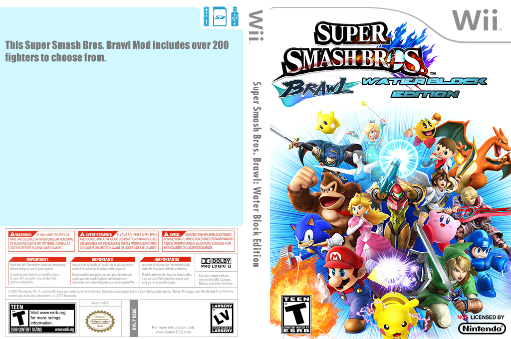 Super Smash Bros. Brawl: Water Block Edition Wii coverfullHQ (RSBE49)