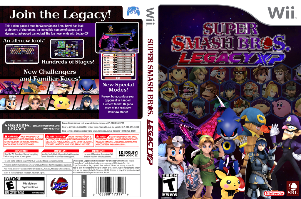 Super Smash Bros. Legacy XP Wii coverfullHQ (RSBEXP)