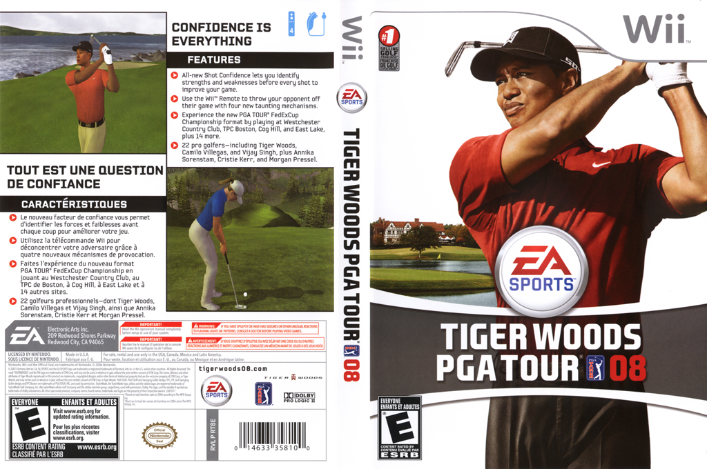Tiger Woods PGA Tour 08 Wii coverfullHQ (RT8E69)