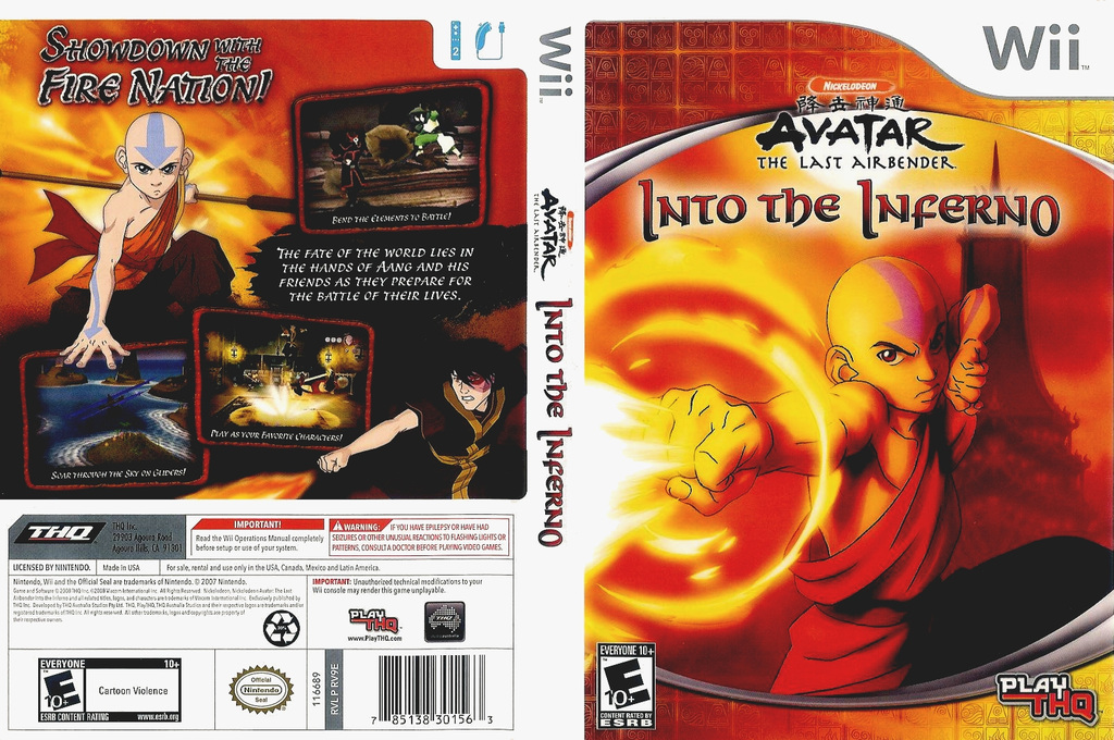 Avatar: The Last Airbender - Into the Inferno Wii coverfullHQ (RV9E78)