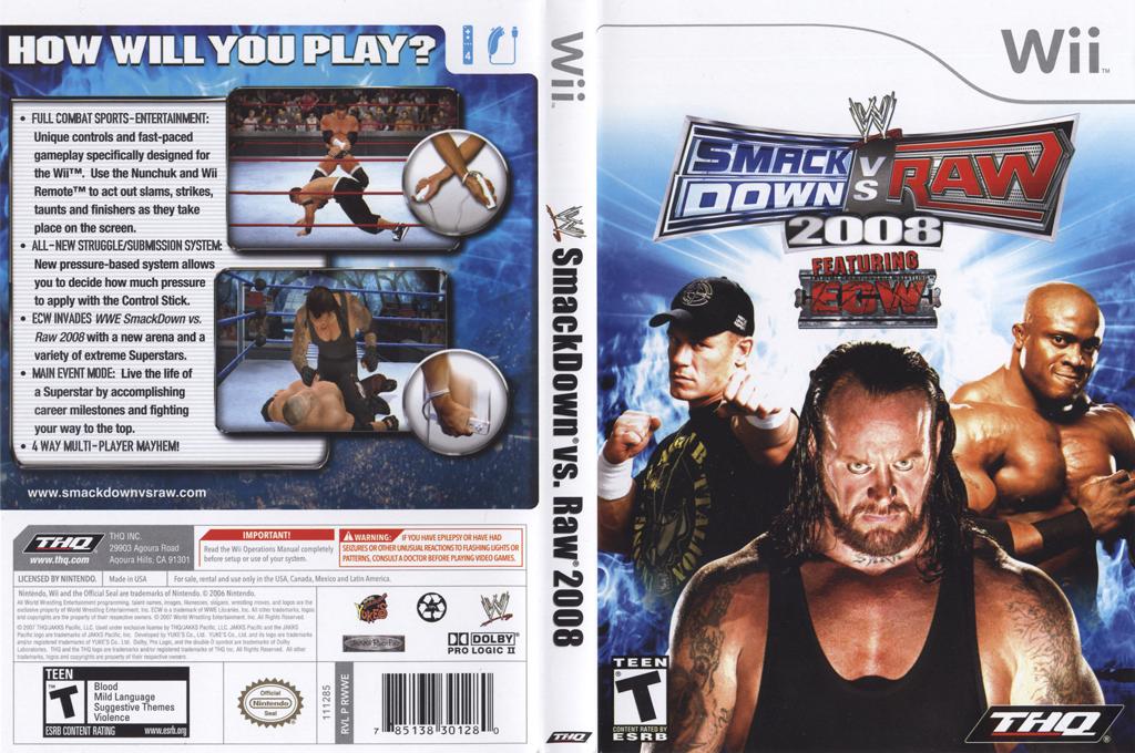 WWE SmackDown vs. Raw 2008 Wii coverfullHQ (RWWE78)