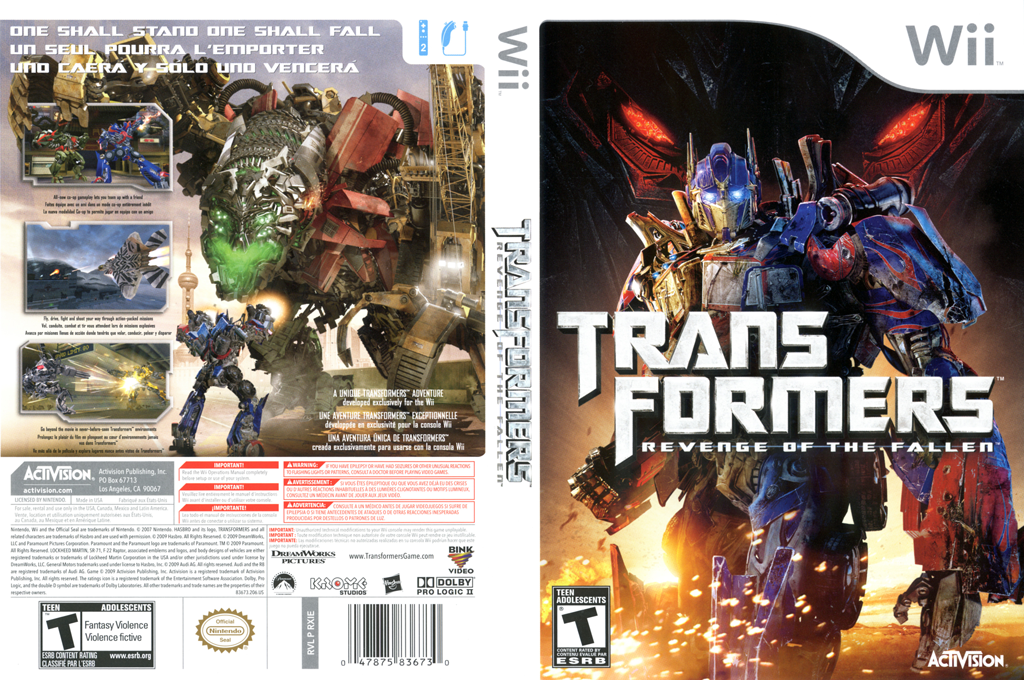 Transformers: Revenge of the Fallen Wii coverfullHQ (RXIE52)