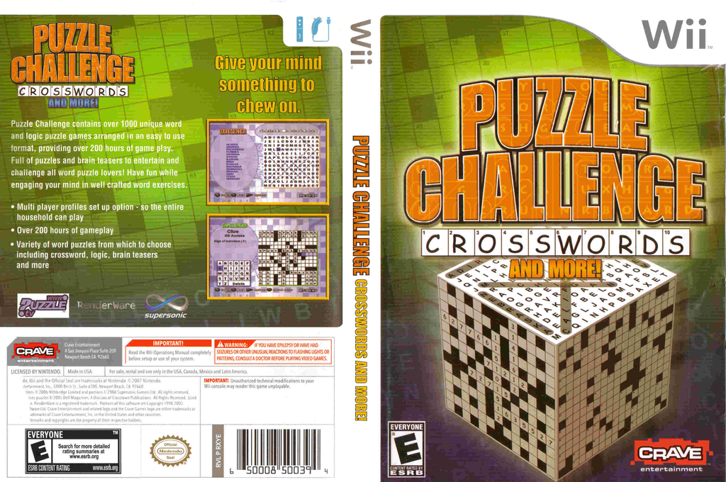 Puzzle Challenge: Crosswords and More! Wii coverfullHQ (RXYE4Z)