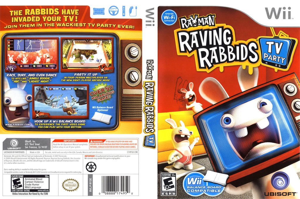 Rayman Raving Rabbids TV Party Wii coverfullHQ (RY3E41)