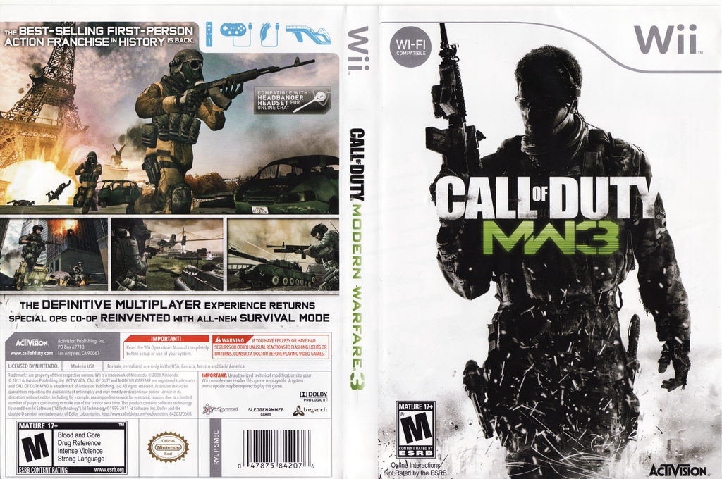 Call of Duty: Modern Warfare 3 Wii coverfullHQ (SM8E52)