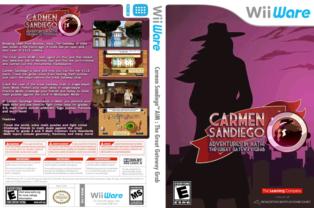 Carmen Sandiego Adventures in Math: The Great Gateway Grab Wii coverfullHQ (WAME)