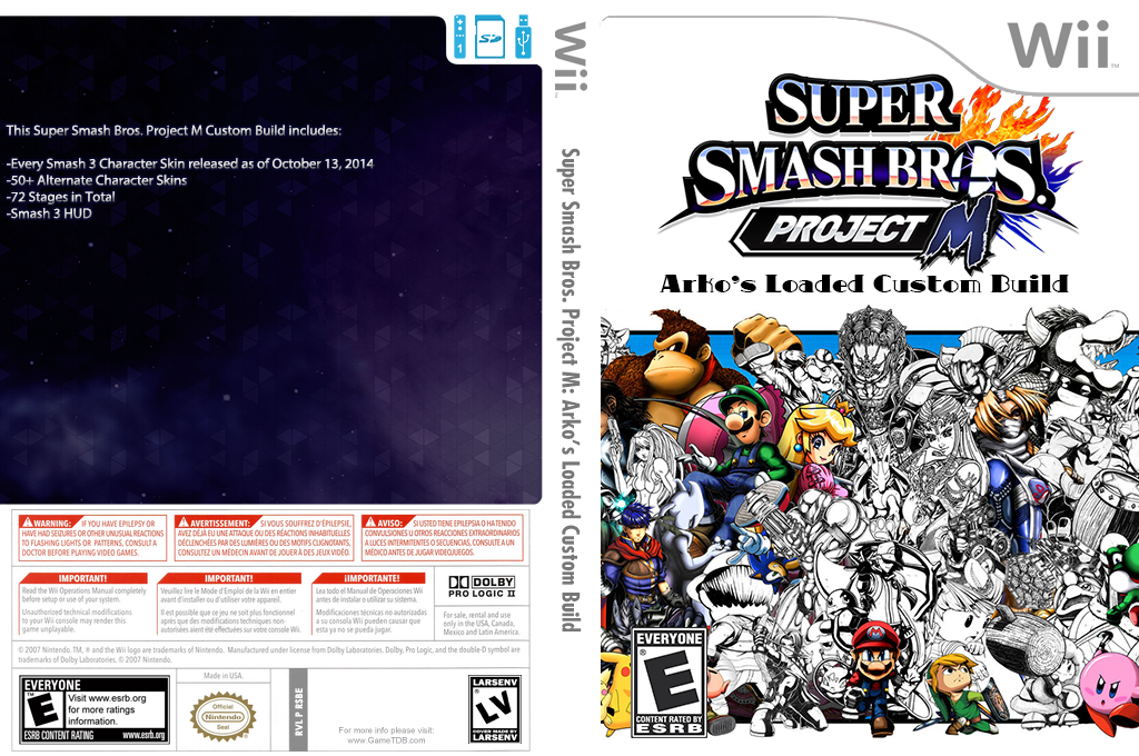 Super Smash Bros. Project M: Arko's Loaded Custom Build Wii coverfullHQ2 (RSBE30)