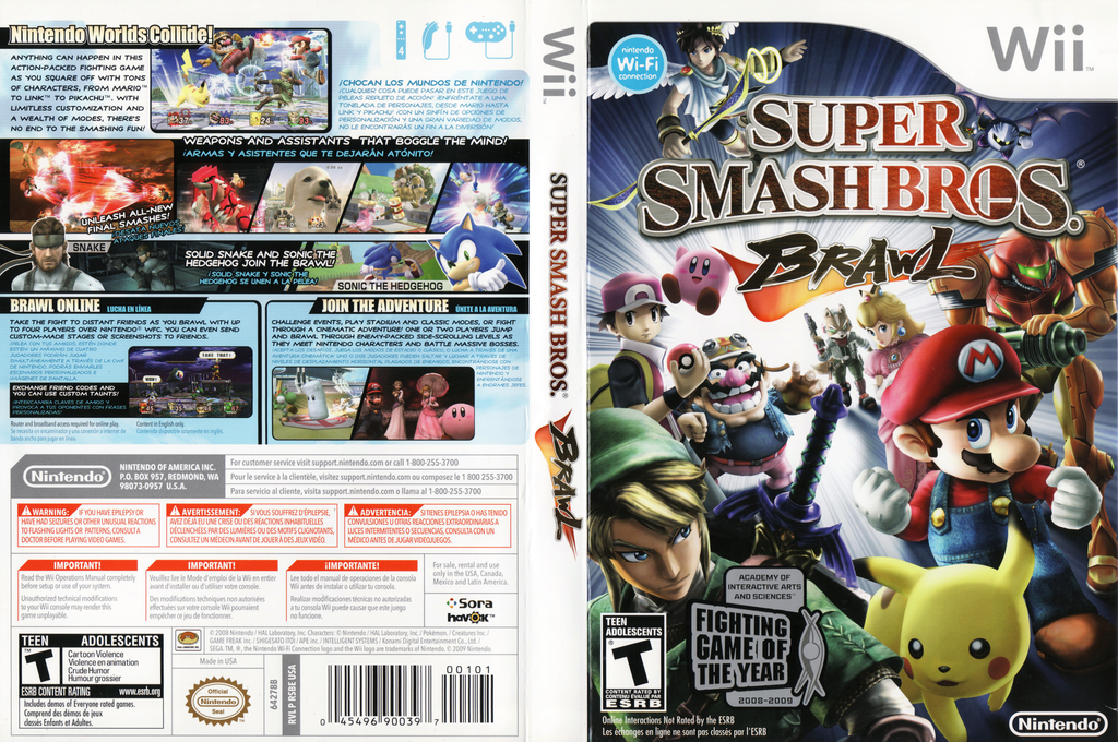 Super Smash Bros. Brawl Wii coverfullHQB (RSBE01)