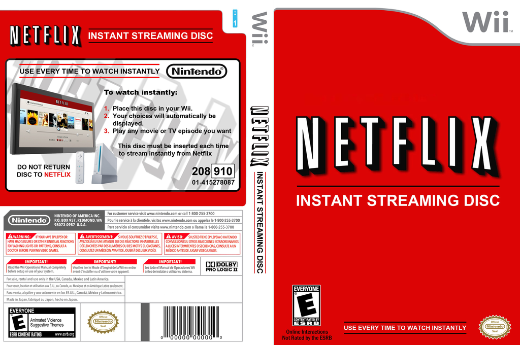 Netflix Instant Streaming Disc Wii coverfullHQB (SNTEXN)