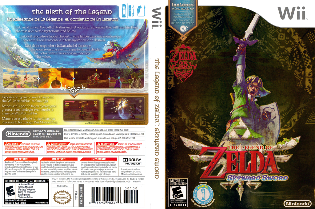 The Legend of Zelda: Skyward Sword Wii coverfullHQB (SOUE01)