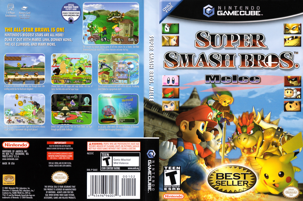 Super Smash Bros. Melee Wii coverfullHQB2 (GALE01)